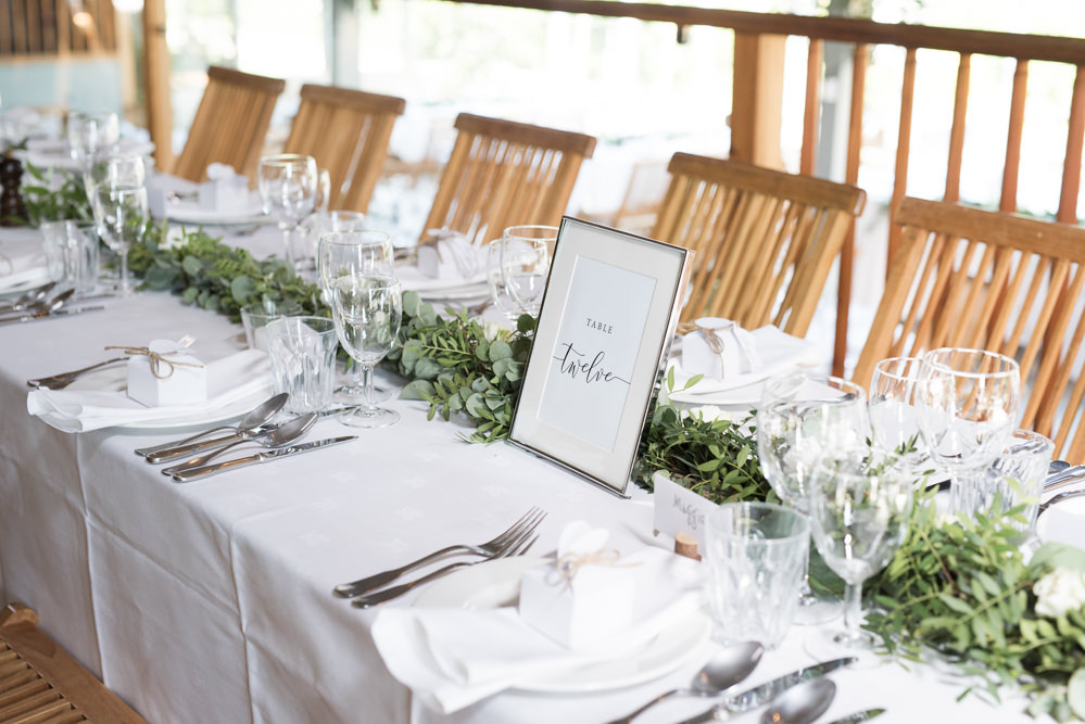 White Table Cloth Greenery Foliage Runner Table Number Calligraphy Frame Elegant Chic Modern Wedding Kayleigh Pope Photography