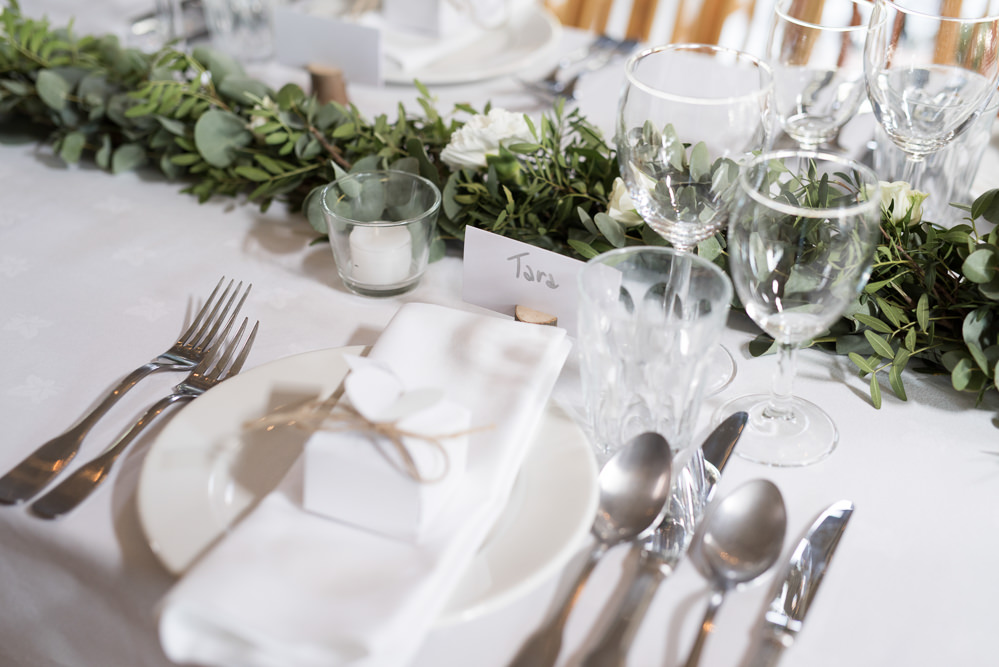 Table Greenery Runner Favours Box White Elegant Chic Modern Wedding Kayleigh Pope Photography