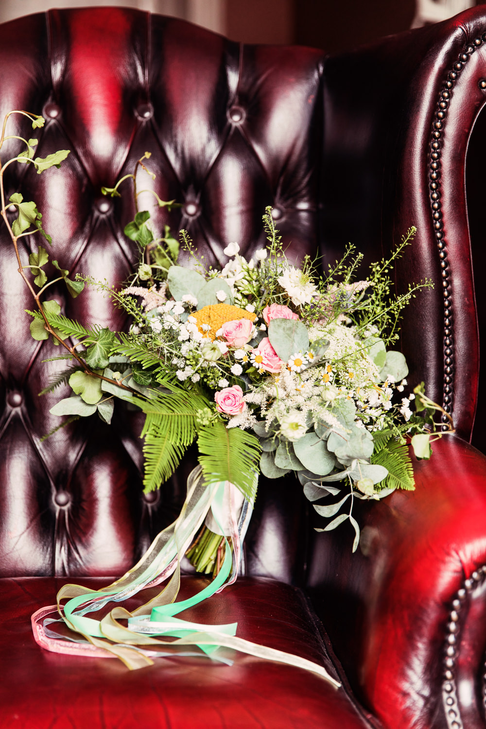 Bride Bridal Bouquet Wildflowers Meadow Daisy Fern Festival Wedding Mismatched Country Camilla Lucinda Photography