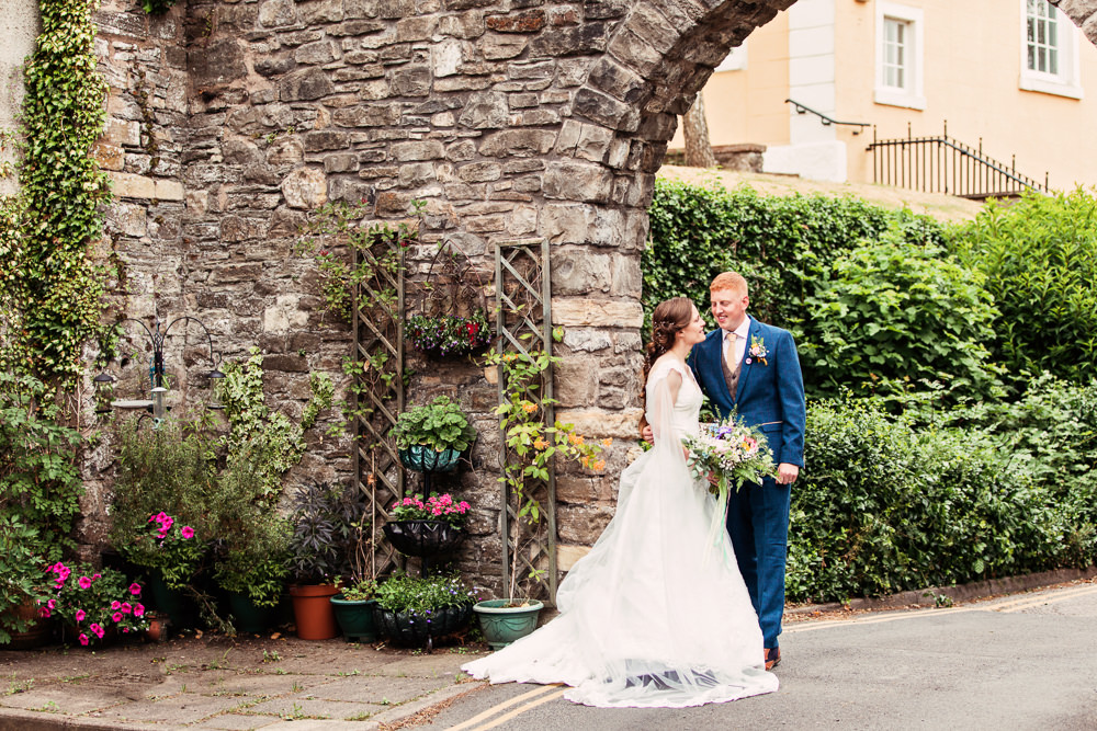 Bride Bridal Bespoke Dress Cape Sweetheart Neckline A Line Lace Tweed Mismatched Waistcoat Groom Festival Wedding Mismatched Country Camilla Lucinda Photography