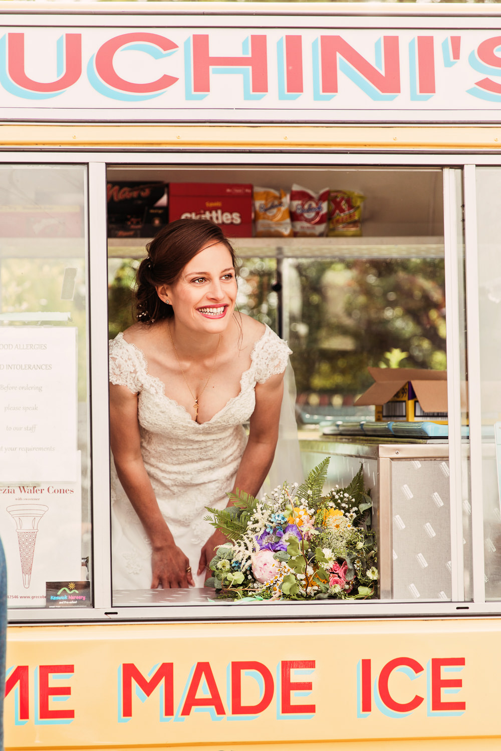 Bride Bridal Bespoke Dress Cape Sweetheart Neckline A Line Lace Ice Cream Van Festival Wedding Mismatched Country Camilla Lucinda Photography