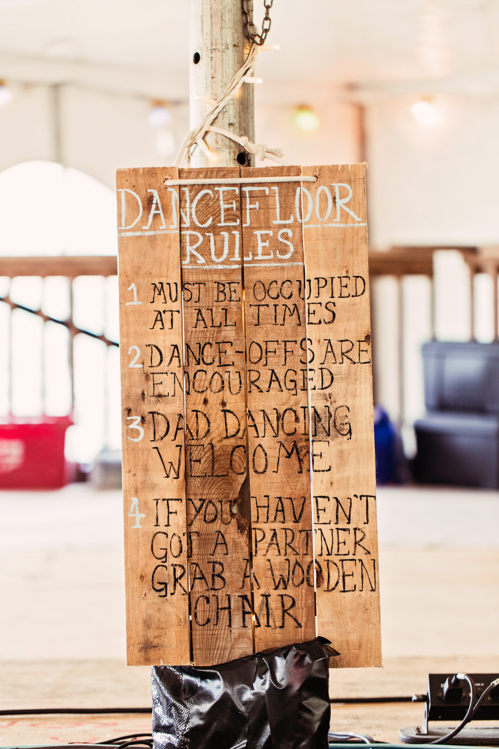 Dancefloor Rules Hand Painted Sign Wooden Festival Wedding Mismatched Country Camilla Lucinda Photography
