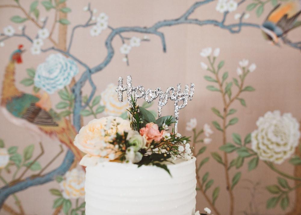 Hooray Glitter Cake Topper Silver George Rye Wedding Hollie Carlin Photography