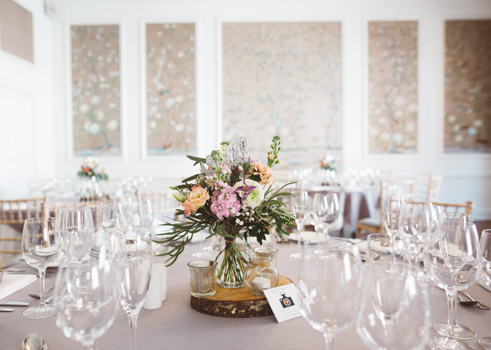 Centrepiece Flowers Table Log Slice Pink Peach Candles George Rye Wedding Hollie Carlin Photography