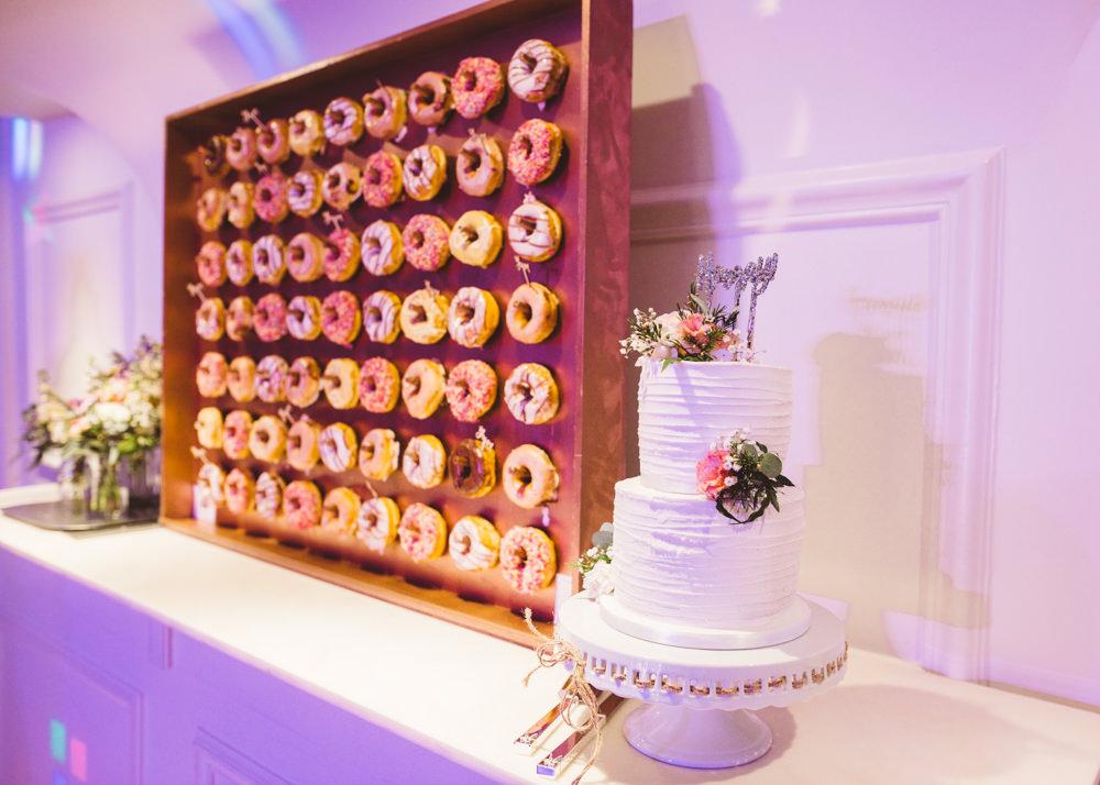 Donut Wall Cake Table George Rye Wedding Hollie Carlin Photography