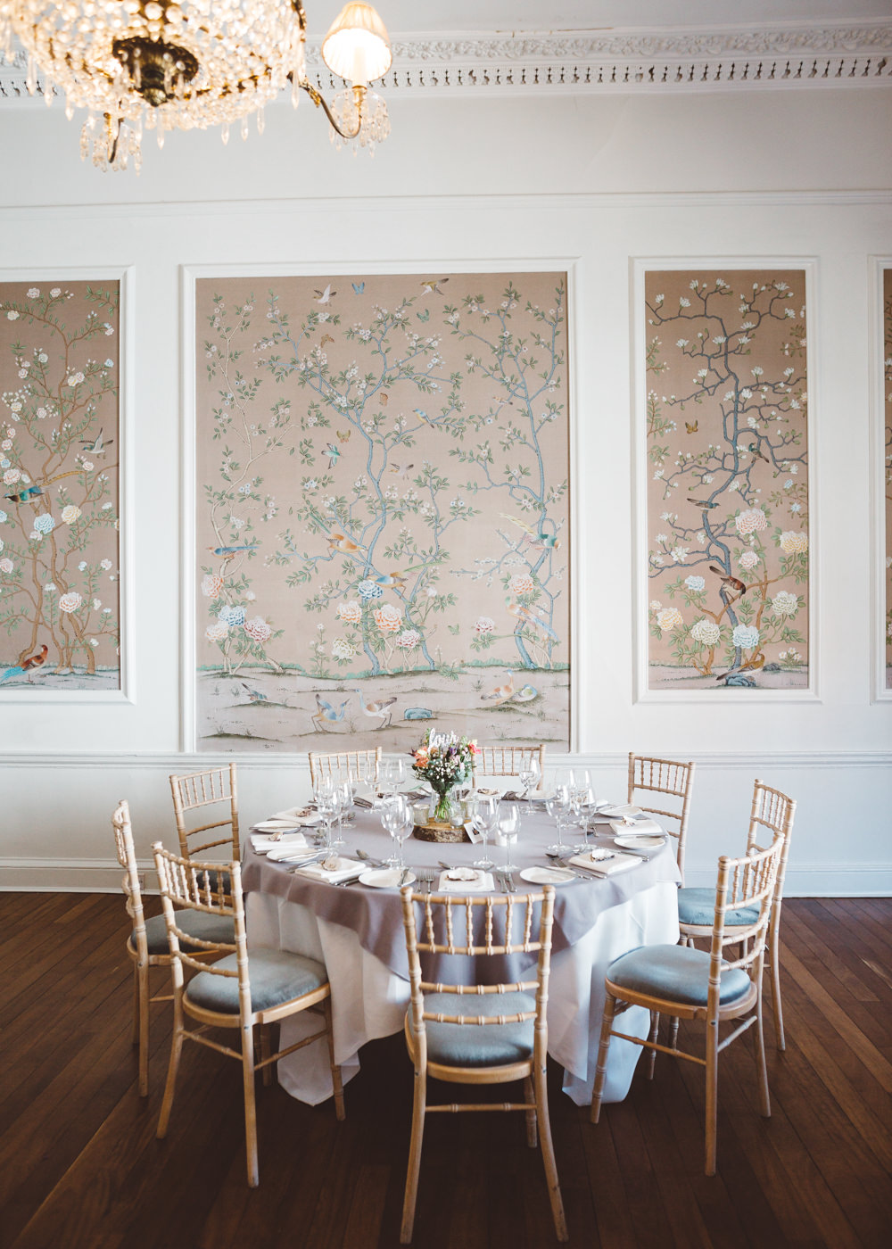 Table Grey Tablecloth Chiavari Chairs Round George Rye Wedding Hollie Carlin Photography