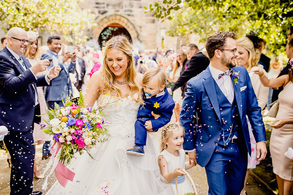 Bride Bridal Sweetheart Neckline A Line Layered Tulle Hugo Boss Waistcoat Blue Groom Multicolour Flowers Bouquet Confetti Heaton House Farm Wedding Steven Rooney Photography