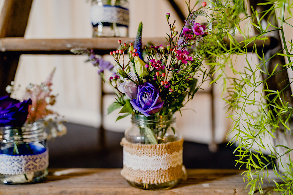 Jam Jars Flowers Floral Multicoloured Hessian Lace Heaton House Farm Wedding Steven Rooney Photography