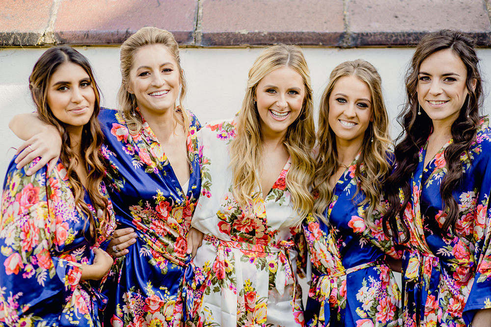 Bride Bridal Bridesmaids Floral Silk Dressing Gown Heaton House Farm Wedding Steven Rooney Photography