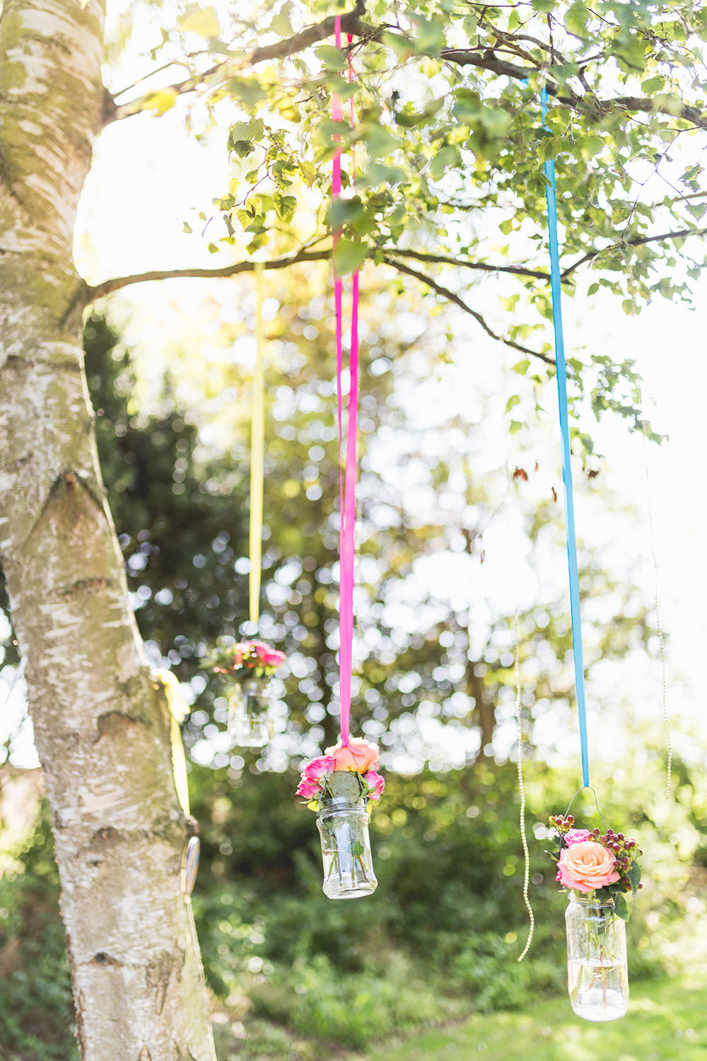 Hanging Jar Flowers Ribbons Colourful Hothorpe Hall Woodlands Wedding Lucy Long Photography