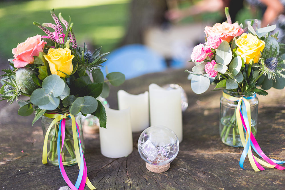 Flowers Jars Multi Colour Rose Pink Yellow Coral Purple Ribbons Hothorpe Hall Woodlands Wedding Lucy Long Photography