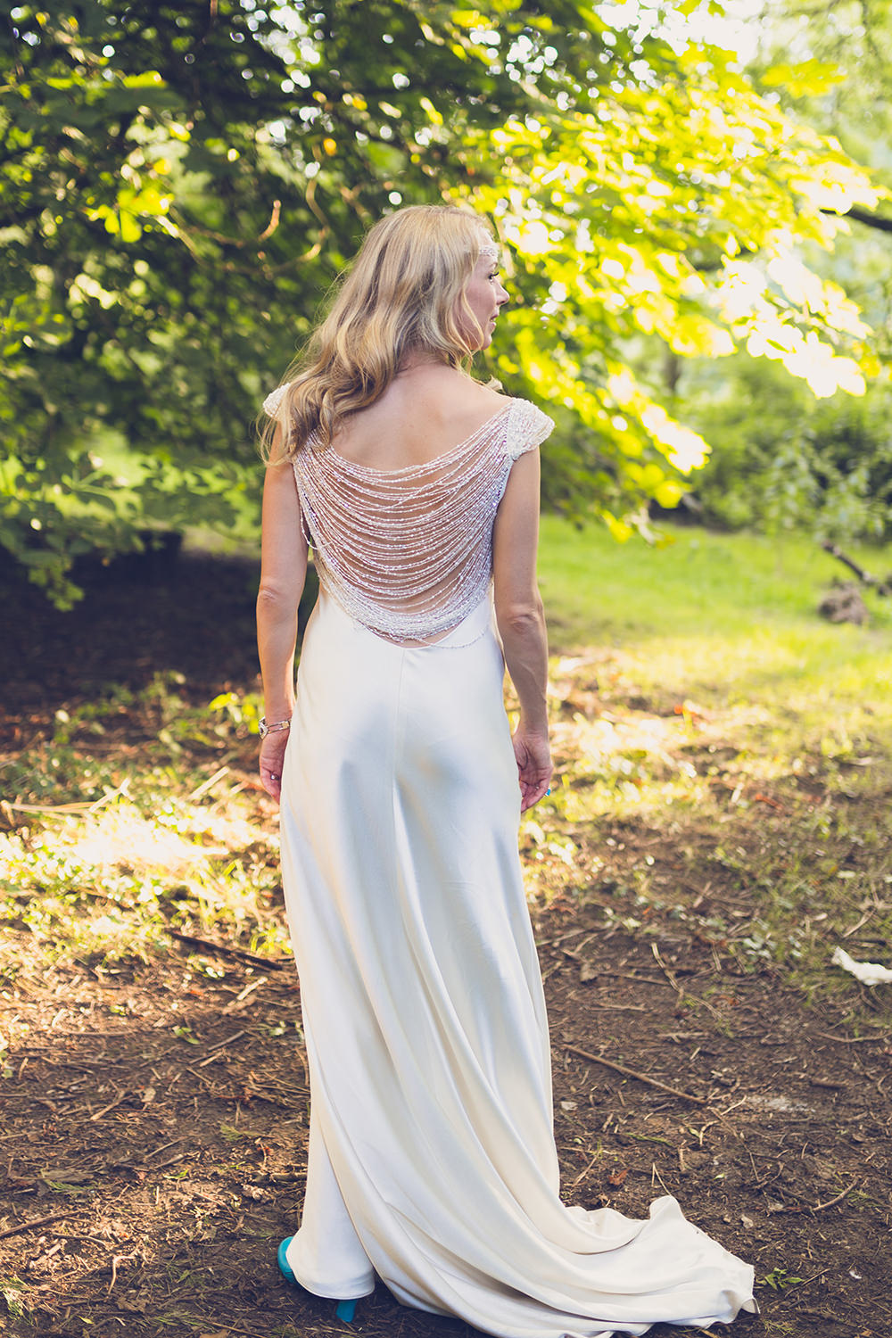 Suzanne Neville Silk Dress Gown Bride Bridal Train Beaded Back Detail Embellished Hothorpe Hall Woodlands Wedding Lucy Long Photography