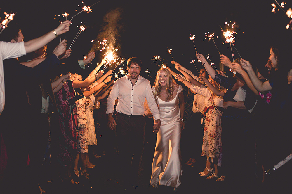 Sparkler Exit Bride Groom Hothorpe Hall Woodlands Wedding Lucy Long Photography