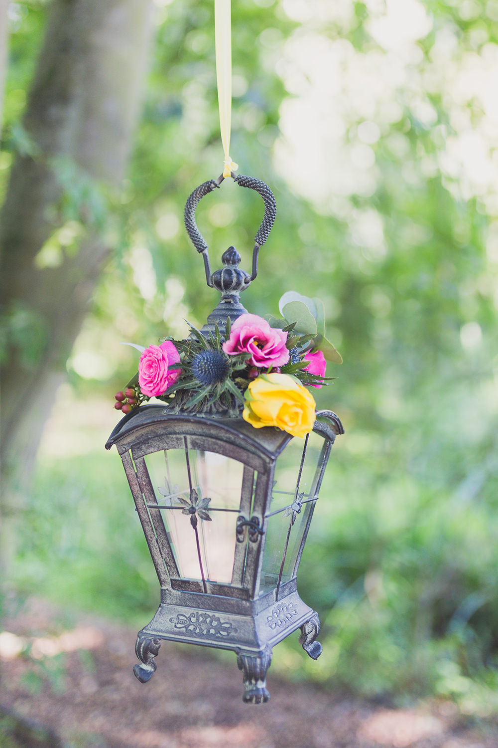 Lanterns Hanging Flowers Pink Yellow Rose Hothorpe Hall Woodlands Wedding Lucy Long Photography