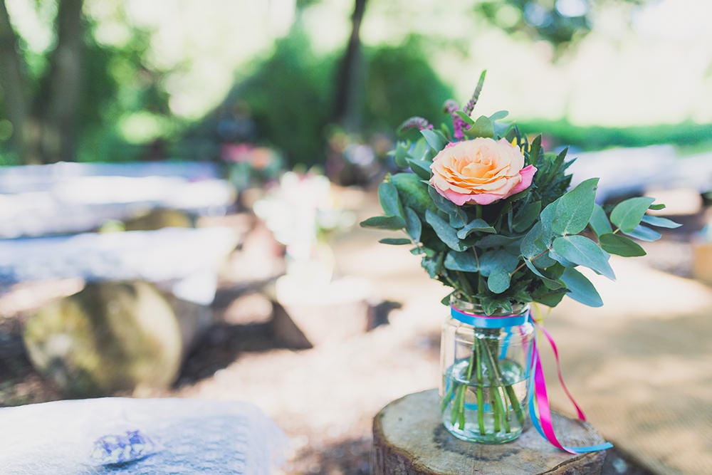 Jar Flowers Ribbons Log Stump Ceremony Aisle Hothorpe Hall Woodlands Wedding Lucy Long Photography