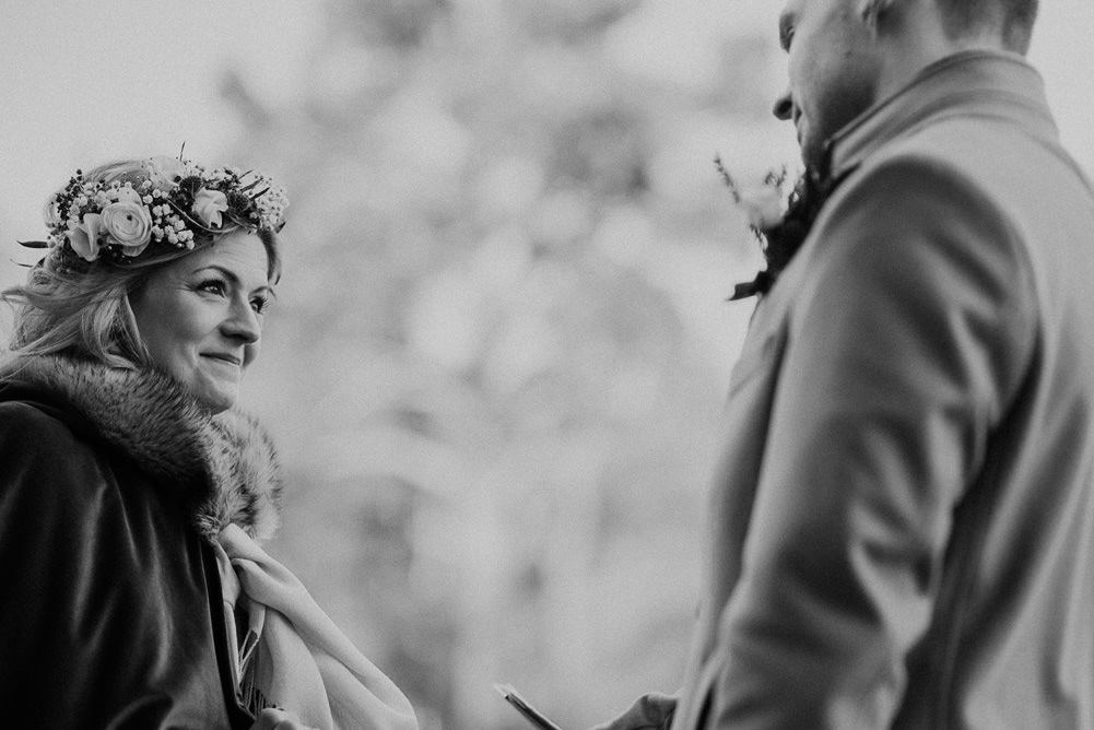 Forest Trees Castle Loch Bride Blue Dress White Bouquet Floral Crown Cape Father Ceremony | Intimate Winter Outdoor Scotland Wedding Christopher Ian Photography