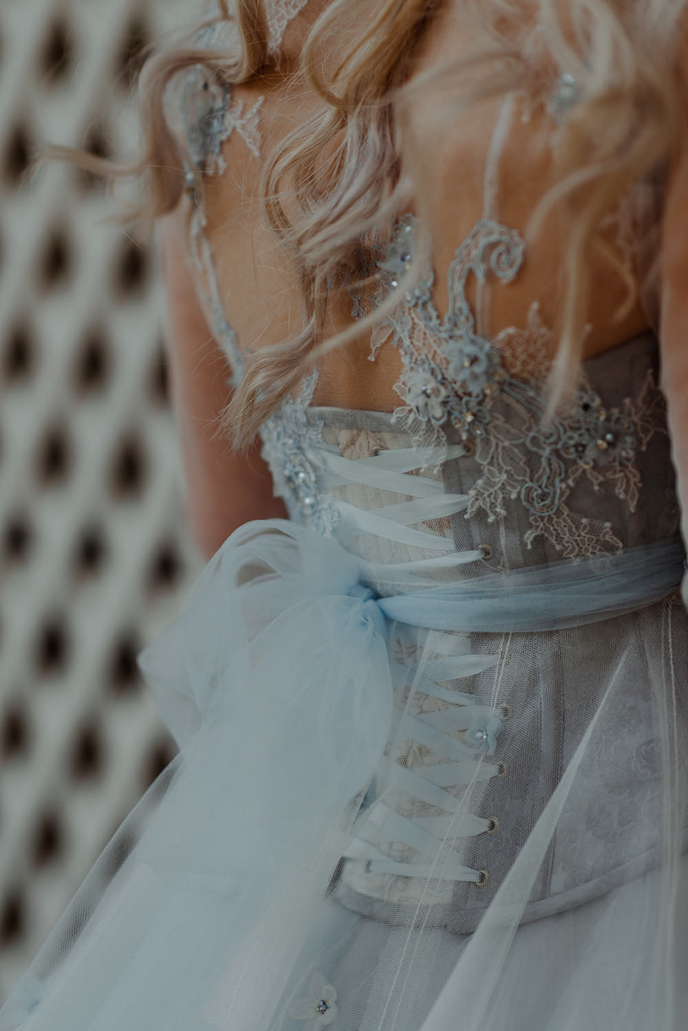 Forest Trees Castle Loch House Bride Blue Corset Bespoke Gown | Intimate Winter Outdoor Scotland Wedding Christopher Ian Photography