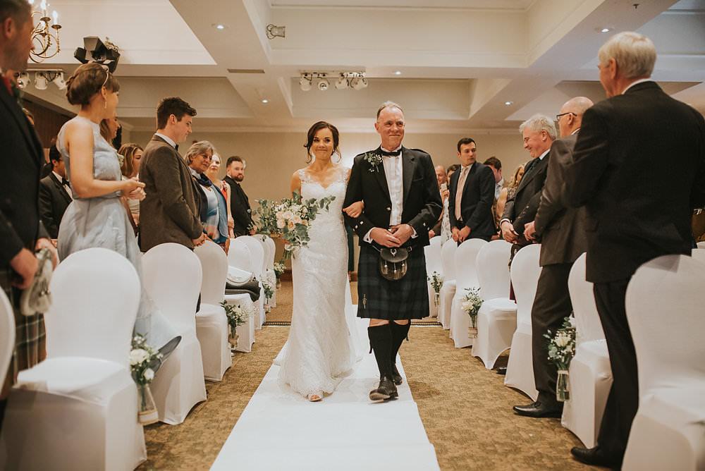 Bride Bridal Lace Sweetheart Neckline Straps Sleeveless Cathedral Veil Kilt Bow Tie Bouquet Eucalyptus Macdonald Houston Hotel Wedding Martin Venherm Photography