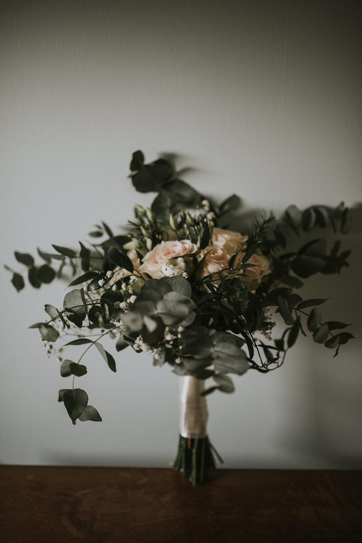 Bride Bridal Eucalyptus Peach Roses Gypsophila Macdonald Houston Hotel Wedding Martin Venherm Photography