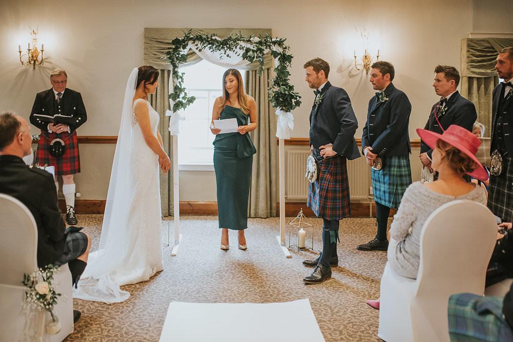 Bride Bridal Lace Sweetheart Neckline Straps Sleeveless Cathedral Veil Kilt Tartan Groom Bow Tie Macdonald Houston Hotel Wedding Martin Venherm Photography