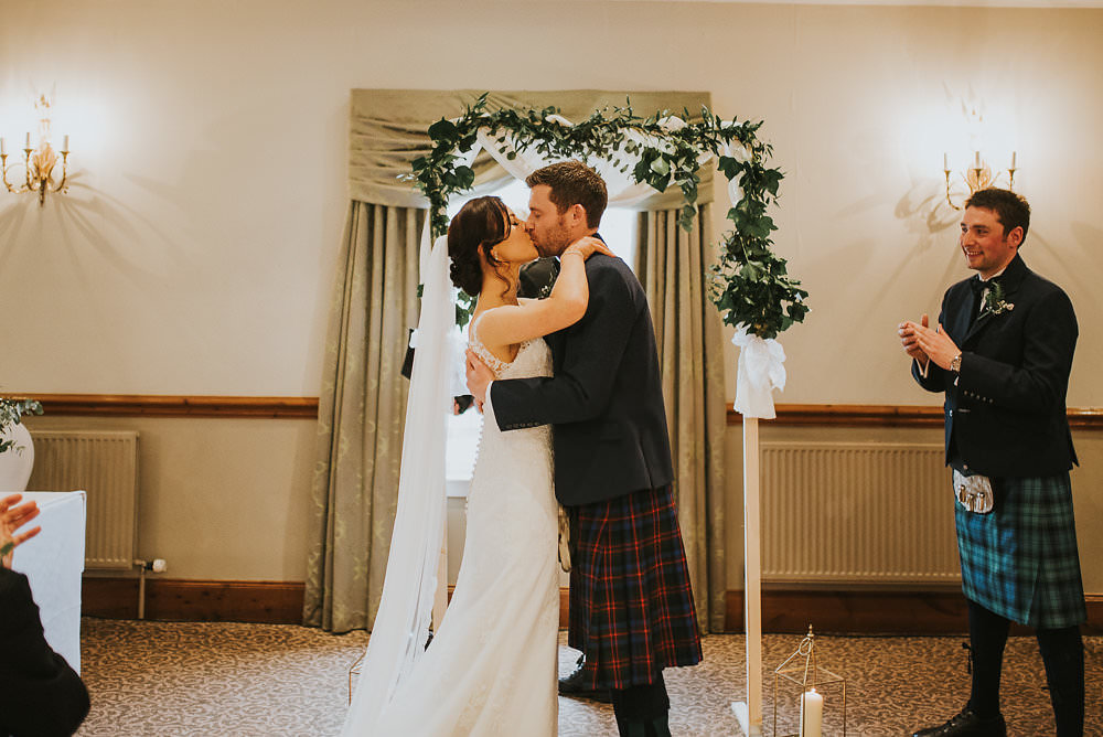 Bride Bridal Lace Sweetheart Neckline Straps Sleeveless Cathedral Veil Kilt Groom Bow Tie Macdonald Houston Hotel Wedding Martin Venherm Photography