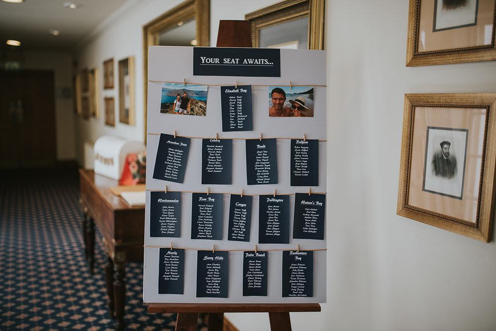 Table Plan Seating Chart Pegs Twine Photographs Easel Macdonald Houston Hotel Wedding Martin Venherm Photography