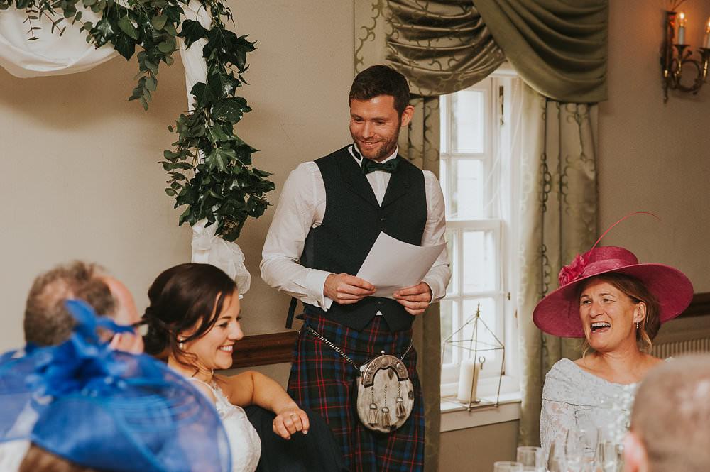 Groom Tartan Kilt Waistcoat Bow Tie Sporran Macdonald Houston Hotel Wedding Martin Venherm Photography