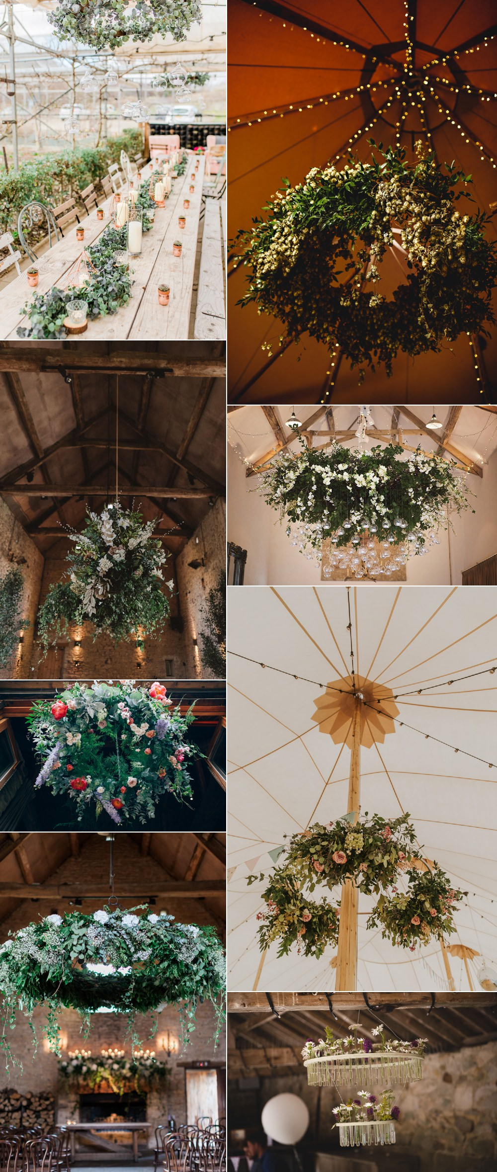 Hoops Chandeliers Suspended Hanging Floral Flower Ideas Wedding Inspiration