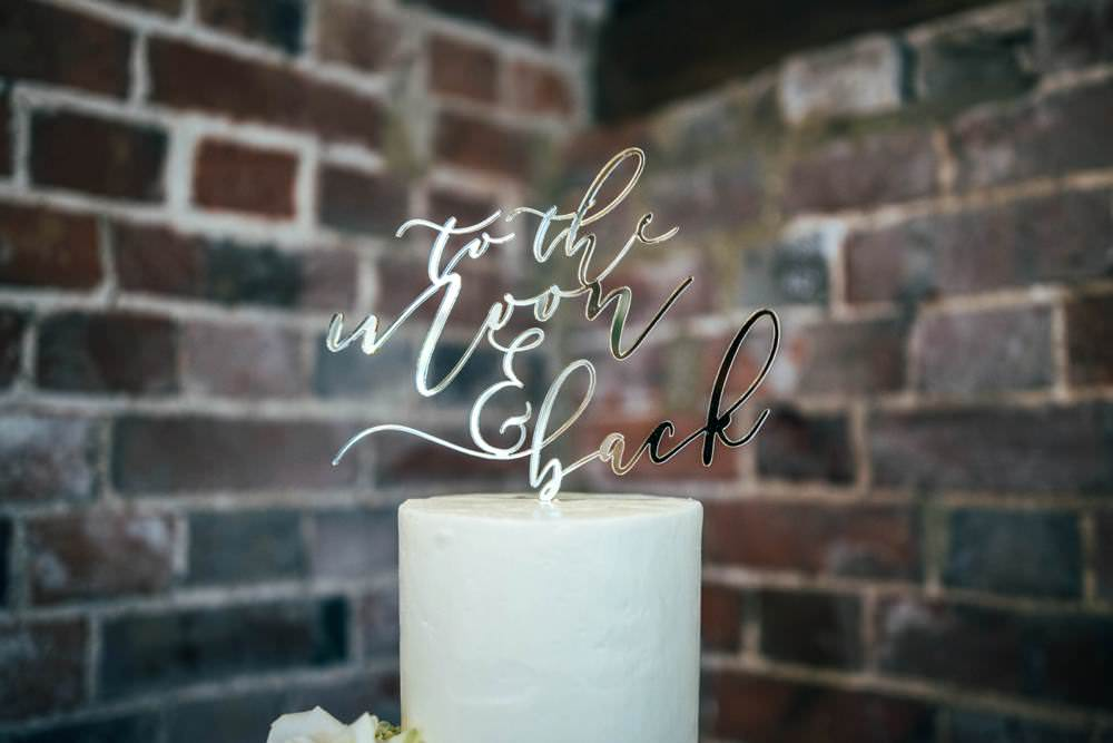 Gold Cake Topper Quote Warm Welcoming Wedding Three Flowers Photography