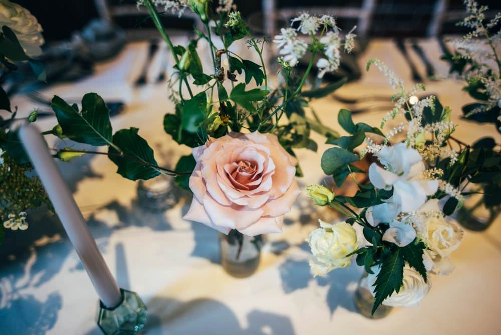 Bottle Flowers Rose Astilbe Greenery Tables Warm Welcoming Wedding Three Flowers Photography