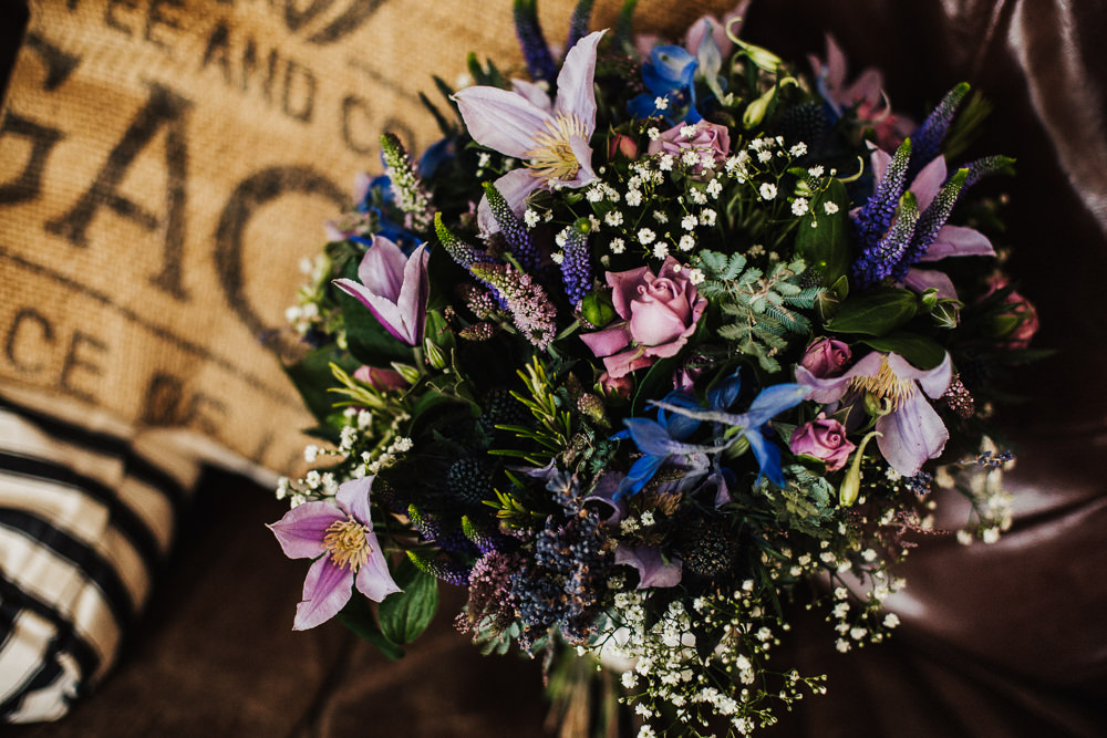 Bride Bridal Pink Purple Rose Gypsophila Bouquet Whimsical Countryside Sperry Tent Wedding Emilie May Photography