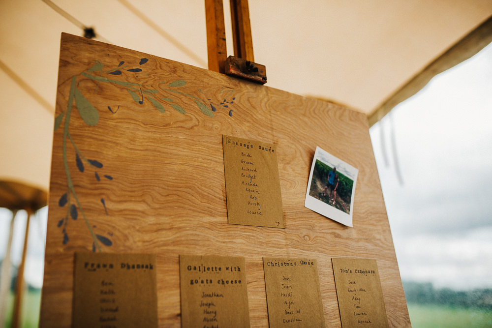 Table Plan Seating Chart Wooden Board Easel Whimsical Countryside Sperry Tent Wedding Emilie May Photography