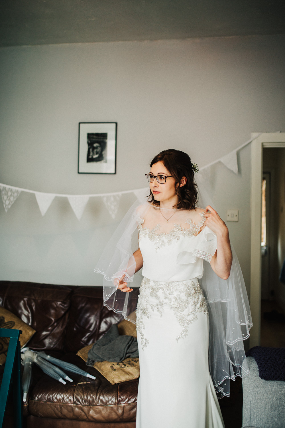 Bride Bridal Enzoani Fitted Wedding Dress Embellished Cap Sleeve Gypsophila Veil Whimsical Countryside Sperry Tent Wedding Emilie May Photography