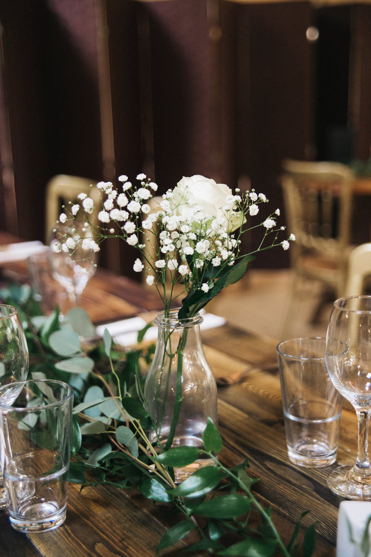 Milk Bottle Flowers White Rose Gypsophila Greenery Swag Runner Table Wray's Barn Whinstone View Wedding Sally T Photography