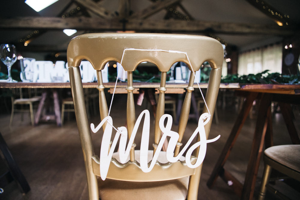 Chair Signs Mrs Wray's Barn Whinstone View Wedding Sally T Photography