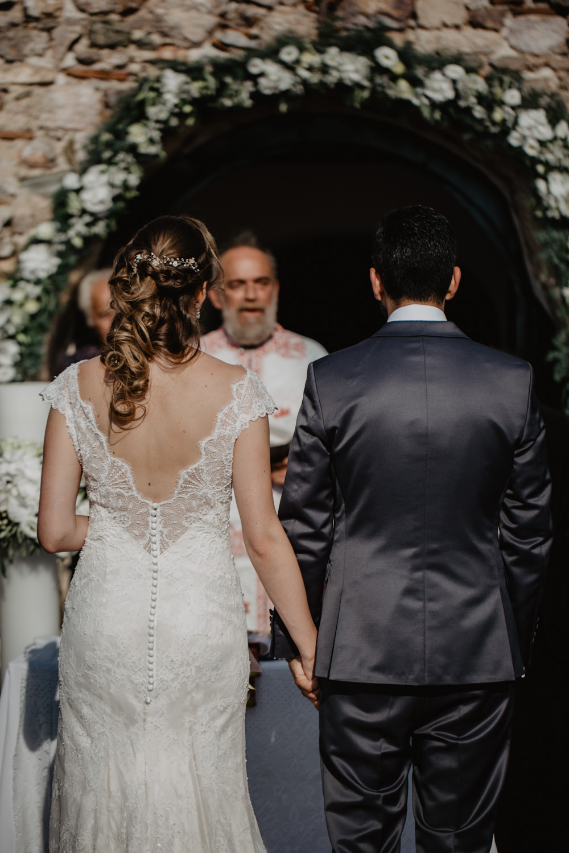 Bride Bridal Fishtail Lace Cap Sleeve Low V Back Dress Gown Greece Destination Wedding Elena Popa Photography