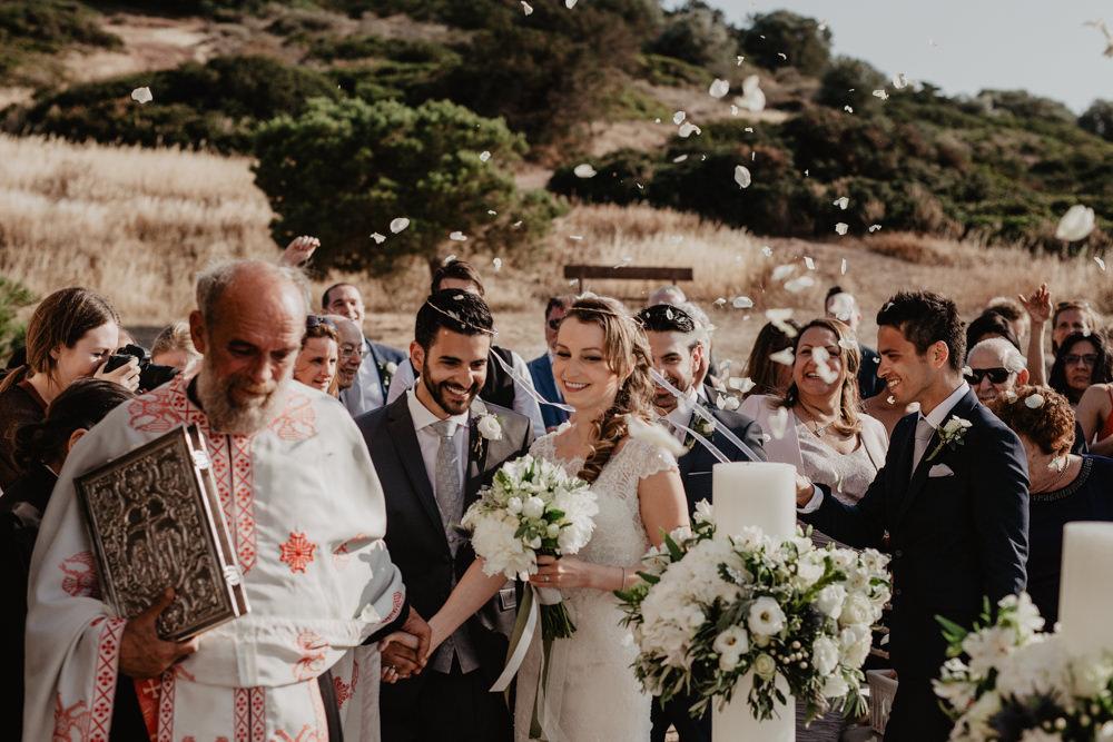 Bride Bridal Fishtail Lace Cap Sleeve Sweetheart Dress Gown Bouquet Grey Suit Groom Confetti Greece Destination Wedding Elena Popa Photography
