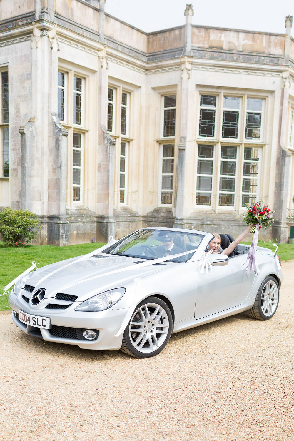 Car Transport Roof Down Convertible Highcliffe Castle Wedding Bowtie and Belle Photography