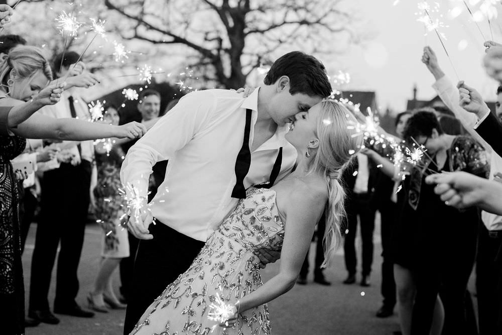 First Dance Sparkler Send Off Exit Kiss Highcliffe Castle Wedding Bowtie and Belle Photography