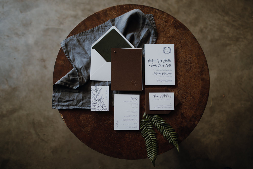 Stationery Invite Invitation Suite Leather Calligraphy Industrial Luxe Wedding Ideas Balloon Installation Ayelle Photography