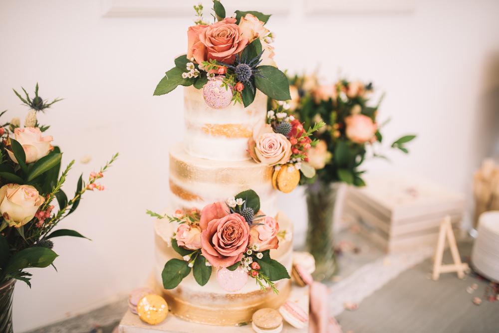 Cake Tall Tiers Gold Buttercream Flowers Macaron Irnham Hall Wedding Lucie Watson Photography