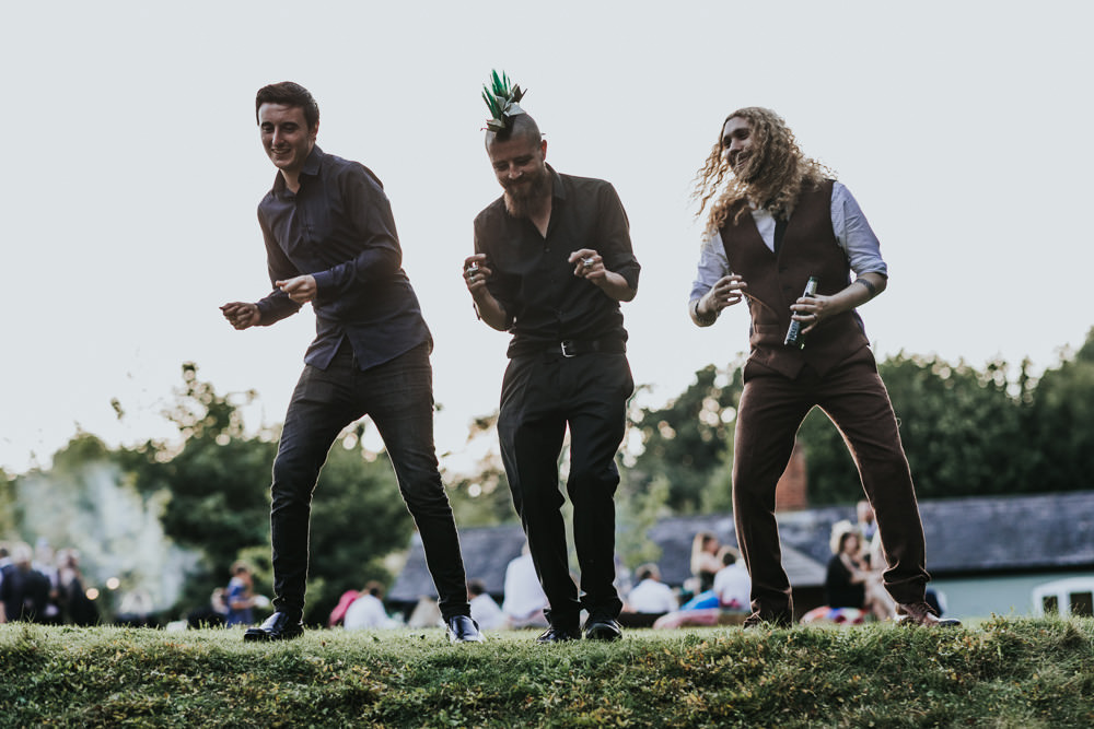 Keeper and The Dell Boho Farm Field Marquee DIY Alternative Rustic Groom Brown Suit Groomsmen | Relaxed Outdoor Wedding with 1000 Rainbow Origami Cranes Dan Biggins Photography