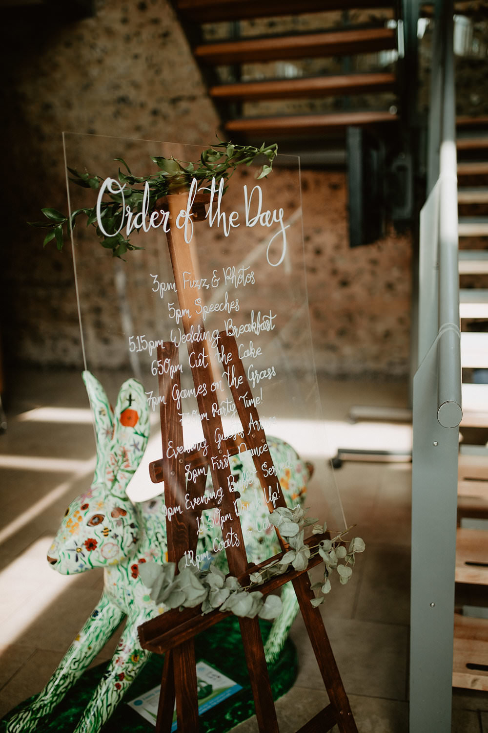 Glass Perspex Acrylic Sign Signage Stationery Calligraphy Greenery Easel Order of Day Timings Norwich Cathedral Wedding Camilla Andrea Photography