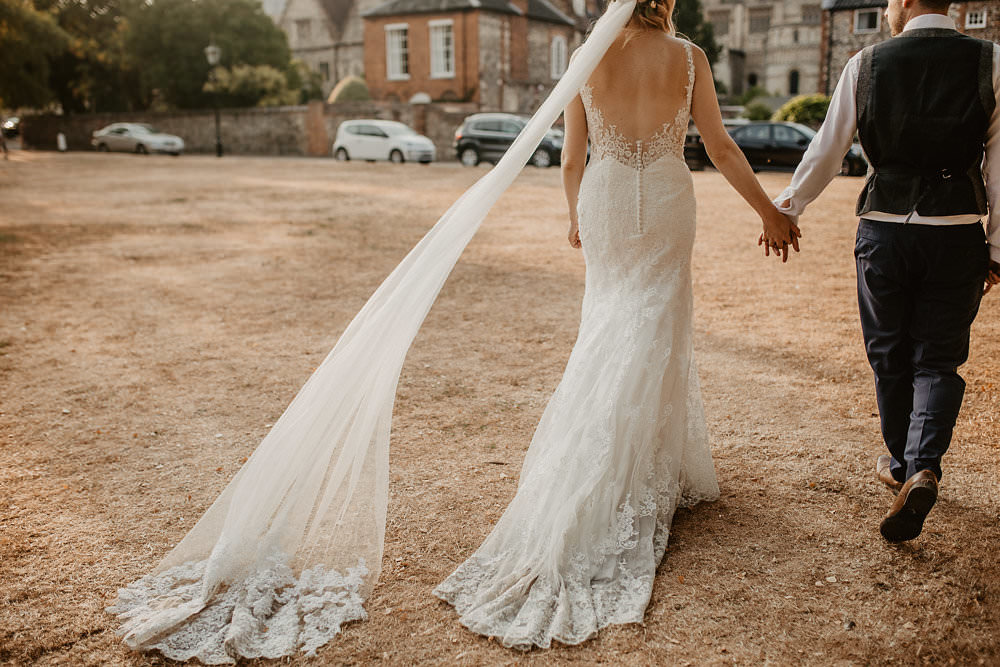 Bride Bridal Dress Gown Straps Lace Fit Flare Mori Lee Sheer Low Back Veil Norwich Cathedral Wedding Camilla Andrea Photography
