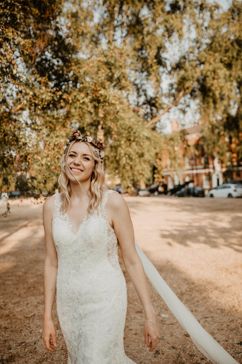 Bride Bridal Dress Gown Straps Lace Fit Flare Mori Lee Sheer Low Back Flower Crown Hair Norwich Cathedral Wedding Camilla Andrea Photography