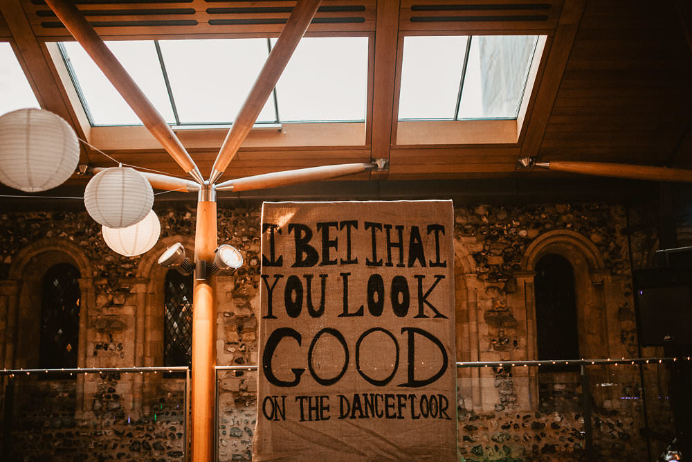 Dancefloor Sign Banner Backdrop First Dance Signage Norwich Cathedral Wedding Camilla Andrea Photography