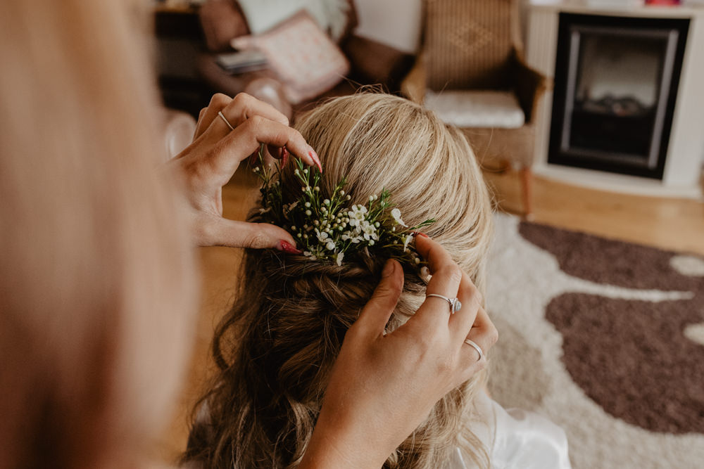 Osborne House Isle of Wight Natural Classic Bride Morning Prep Down Curls Myrtle Hairpiece | Timeless Royal Inspired Seaside Wedding Holly Cade Photography