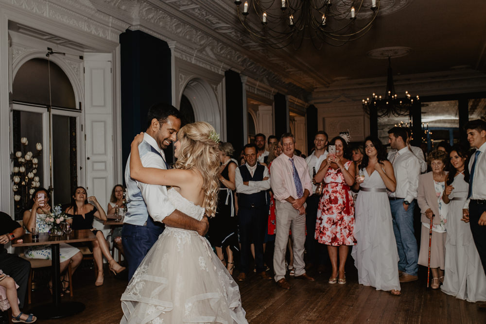 Osborne House Isle of Wight Natural Classic Pink Pastel Bride Groom Romantic First Dance Blush Stella York Dress Evening Reception | Timeless Royal Inspired Seaside Wedding Holly Cade Photography