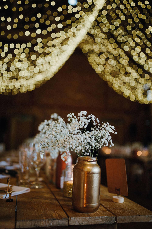 Glitter Jars Copper Metallic Candles Gyp Gypsophila Flowers Tables Gold Metallic Pimhill Barn Wedding Shrophire Leah Lombardi Photography