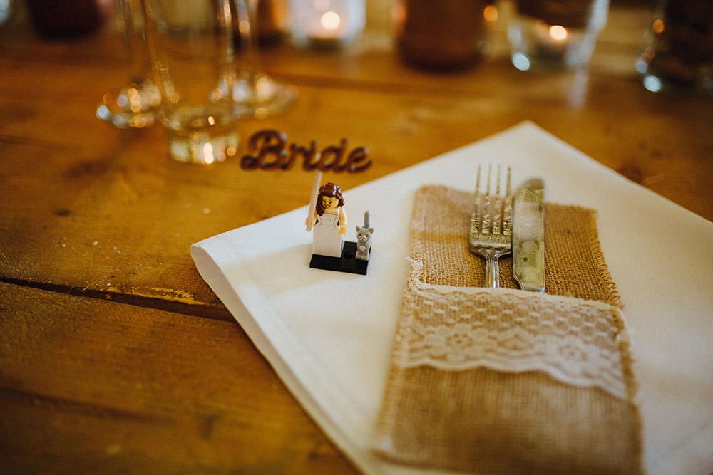 Place Name Setting Card Harry Potter Lego Mini Figure Hessian Cutlery Envelpoe Pouch Lace Pimhill Barn Wedding Shrophire Leah Lombardi Photography
